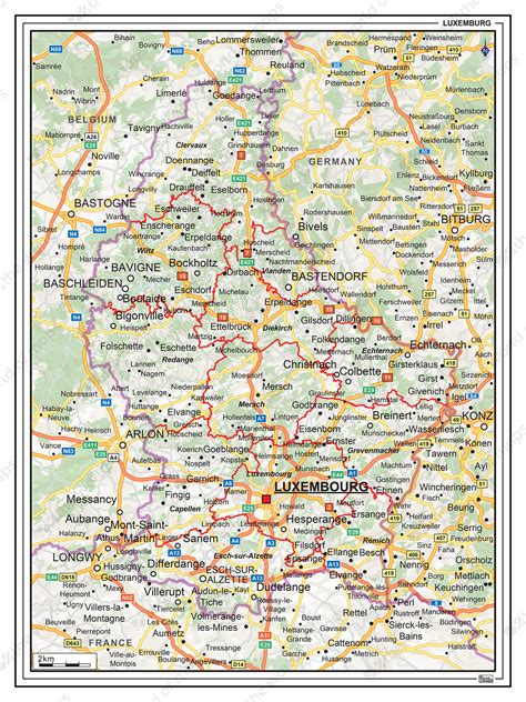 Digital Roadmap Luxembourg 1369 | The World of Maps