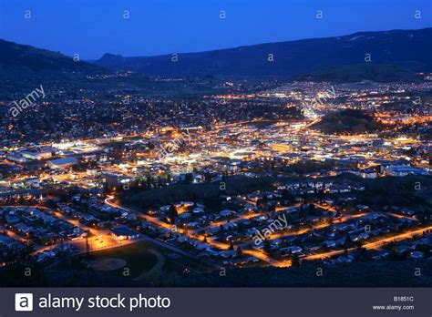 Aerial view of city at night from Turtle Mountain, Vernon