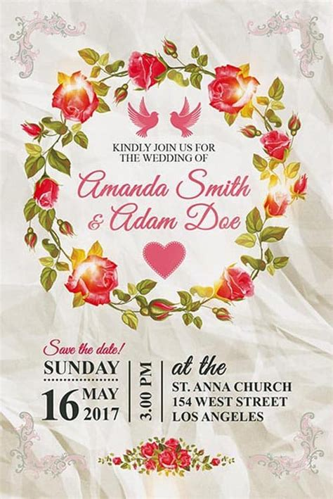 Download the Wedding Invitation Free Poster Template for